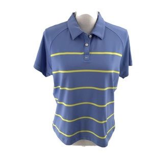 Nike Golf Dri-Fit Blue Striped Polo Shirt Large
